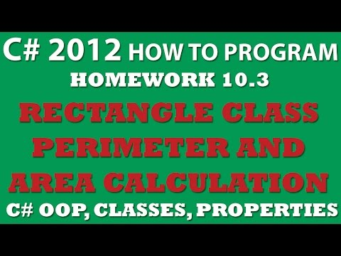C# Programming Challenge 10.3 Rectangle Class: C# OOP, Classes, Properties, ReadOnly