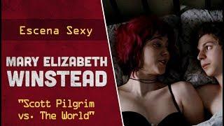 """Escena sexy con Mary Elizabeth Winstead en ropa interior para la película americana """"Scott Pilgrim vs. The World""""."""