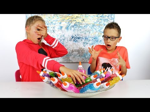 3 Colors of Glue Slime Challenge!!!