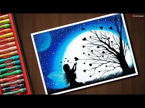 Fairy Dream Scenery Drawing With Oil Pastels Step By Step Action