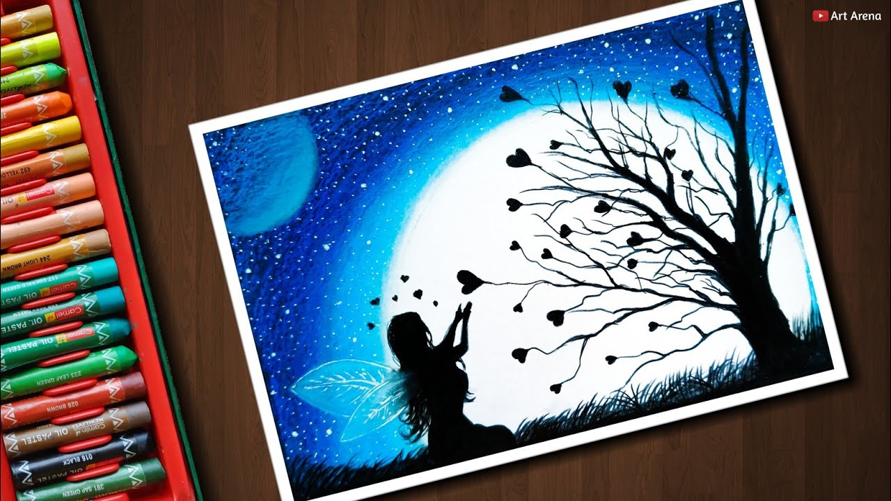 Fairy Dream Scenery Drawing With Oil Pastels Step By Step