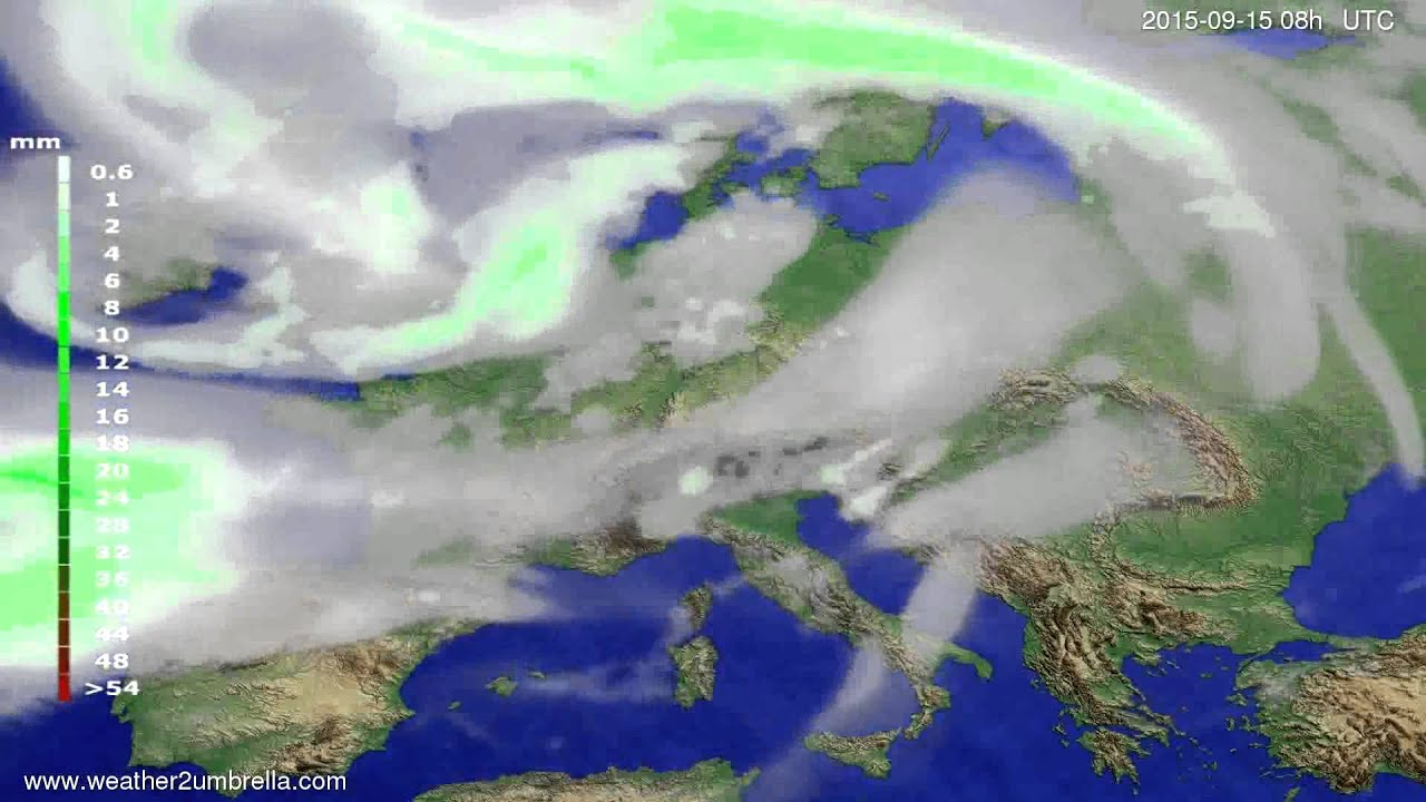 Precipitation forecast Europe 2015-09-12