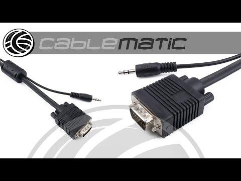 Super cable VGA con jack de audio macho distribuido por CABLEMATIC ®