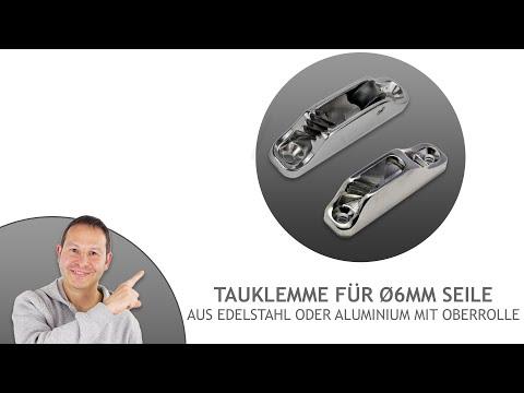 Tauklemme aus Edelstahl oder Aluminium mit Oberrolle - für ø6mm Seile