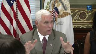 "Vice President Mike Pence Hosts a Roundtable DiscussionLIKE  COMMENT  SHARE  SUBSCRIBE & HIT THAT BELL TO NEVER MISS OUT! THANKS!――――――――――――――――――――――――――――――► Welcome to the President Donald Trump News Channel!► We Bring You The Latest News & Politics► Remember to Click the 🔔 BELL next to Subscribe Button► To Turn on Notifications! Thanks!► Subscribe ➠ Like ➠ Comment ➠ Share! ► Relax & Have a Great Time! ➤ If You Enjoy The Channel Please Consider To Subscribe➥ Its Greatly Appreciated! 🗽►Any Questions �►Don't Hesitate To Message Us! 📩――――――――――――――――――――――――――――――▼ Socials ▼► https://goo.gl/vEyj3D                                           Group► http://twitter.com/breakingbad263                   Twitter► http://www.facebook.com/breakingbad263    Facebook► https://goo.gl/3ifqdH                                           Google +► https://goo.gl/p6Hfol                                           Community[Open 24/7] TRUMP CHAT https://goo.gl/8qfa5C[LIVE STREAM] LINKhttps://goo.gl/OkcdqOPlaylists : ➠ Latest News & Politics Playlist https://goo.gl/muNB8L➠ Donald Trump Music Playlist https://goo.gl/Rra2dw➠ Donald Trump Playlist https://goo.gl/mu0dBj Enjoy All Events!➠ Google + Community https://goo.gl/yTR9F3★ [̲̅&̲̅] [̲̅M̲̅][̲̅O̲̅][̲̅R̲̅][̲̅E̲̅] ★We Bring You All The Latest News & Politics. Also We Show all President Donald Trump Press Conference, Speeches, Events. Including Sean Spicer Press Briefing From The White House. All Of This You Can Watch At Our LIVE STREAM Right Here! Watch Debates From The Senate Floor, Enjoy Our Chat! We Got Full Speeces In HD. Take A Look At Our Great Playlists! We Wish You A Great Time At Our Channel! Have A Great Day! ENPThe Footage We Use Is Owned By Our Government Which Falls Under Public Domain.No copyright intended. All content used in adherence to Fair Use copyright law.About the Video / Community Guidelines This footage is NOT intended to be violent or glorify violence in any way. We are sharing the footage STRICTLY for the purposes of news reporting and educating.Please See The Copyright Laws Below :Copyright Law 105. Subject matter of copyright: United States Government works Copyright protection under this title is not available for any work of the United States Government, but the United States Government is not precluded from receiving and holding copyrights transferred to it by assignment, bequest, or otherwise.Copyright Disclaimer Under Section 107 of the Copyright Act 1976, allowance is made for ""fair use"" for purposes such as criticism, comment, news reporting, teaching, scholarship, and research. Fair use is a use permitted by copyright statute that might otherwise be infringing. Non-profit, educational or personal use tips the balance in favor of fair use.If There Is Any Concern Or Problem With Our Channel In Anyone's View, Please Contact Us.Ⓔntertainment Ⓝews PoliticsWe've got you covered!"