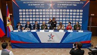 Пресс-конференция, посвященная открытию III зимних Всемирных военных игр в Сочи