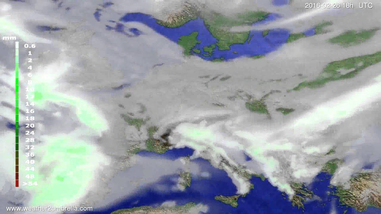 Precipitation forecast Europe 2016-02-23