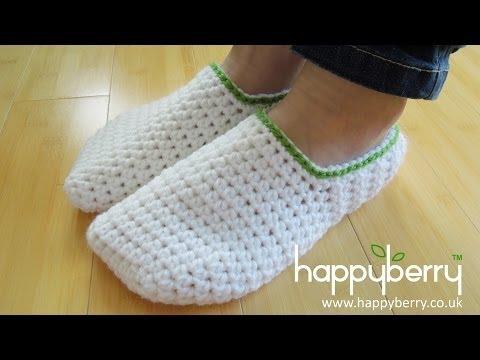 (crochet) How To - Crochet Simple Adult Slippers for Men or Women