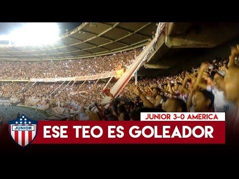 Teo goleador - Frente Rojiblanco, Junior 3-0 America 2017 - Frente Rojiblanco Sur - Junior de Barranquilla - Colombia - América del Sur