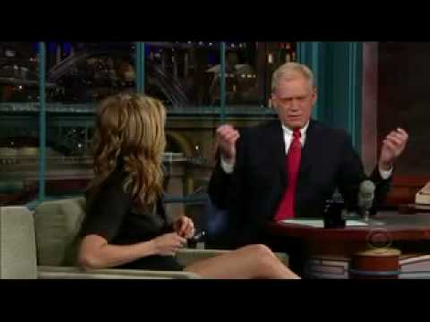 Jennifer Aniston's great legs on Letterman