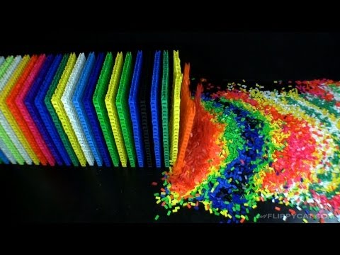 60000piece domino wall destruction