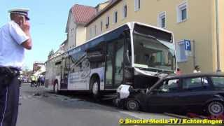 Leinfelden-Echterdingen Germany  city photo : Busfahrer verliert Kontrolle über Bus - Schwerer Busunfall in Echterdingen Stadtmitte | MANV-Alarm