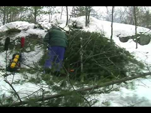 wilderness survival - Paul teaches on how to build a shelter, start a fire, melt snow, and signs of hypothermia. Shelter built with only a knife and fire started with a flint. For...