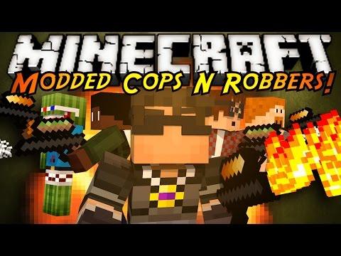 Minecraft Mini-Game : MODDED COPS N ROBBERS! ELEMENTAL GUNS!