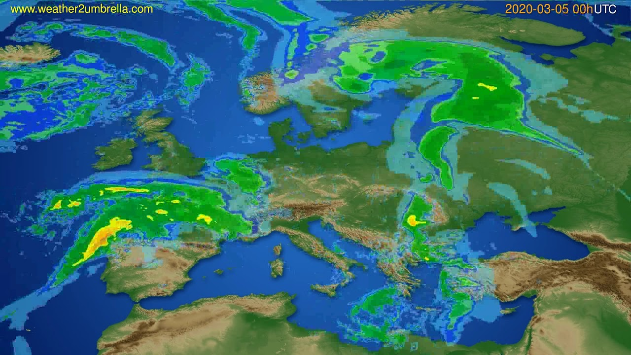 Radar forecast Europe // modelrun: 12h UTC 2020-03-04