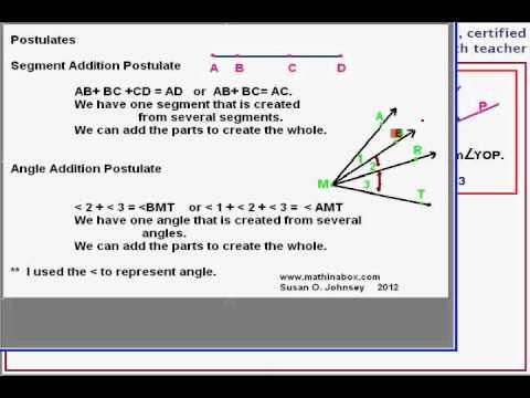 Eigenschaften, Postulate und ein Nachweis über benachbarte Winkel