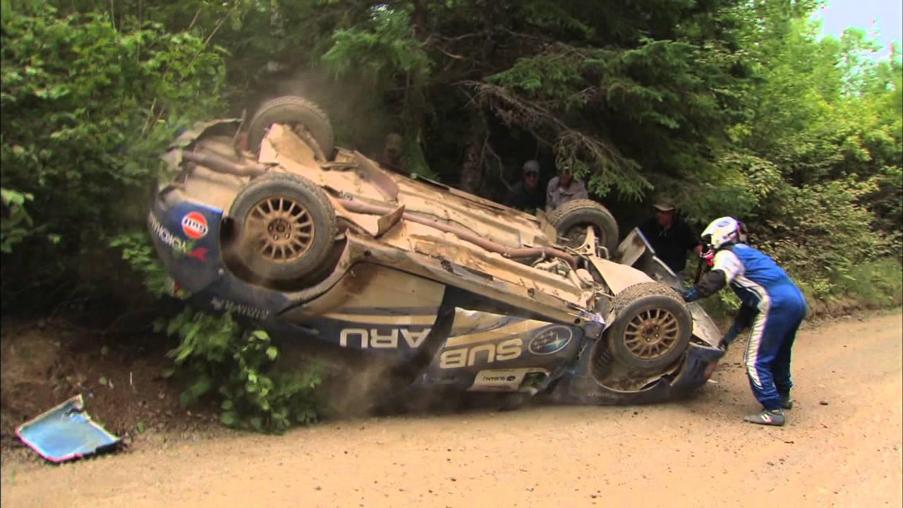 Professional rally car drivers flip their car, un-flip it, and still ...