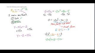 Alg. II - Solving Linear-Quadratic Systems Algebraically (Simp...
