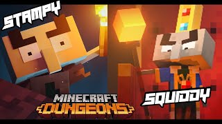 SQUIDDY (PRO) & STAMPY (NOOB) Plays Minecraft Dungeons!!