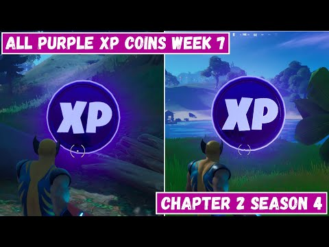 All 2 Purple XP Coins Locations Week 7! - Purple Power Punch Card Fortnite Chapter 2 Season 4