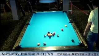 Pt 1 / Efren Reyes VS Tony Pirone / One-Pocket Challenge / October 2012