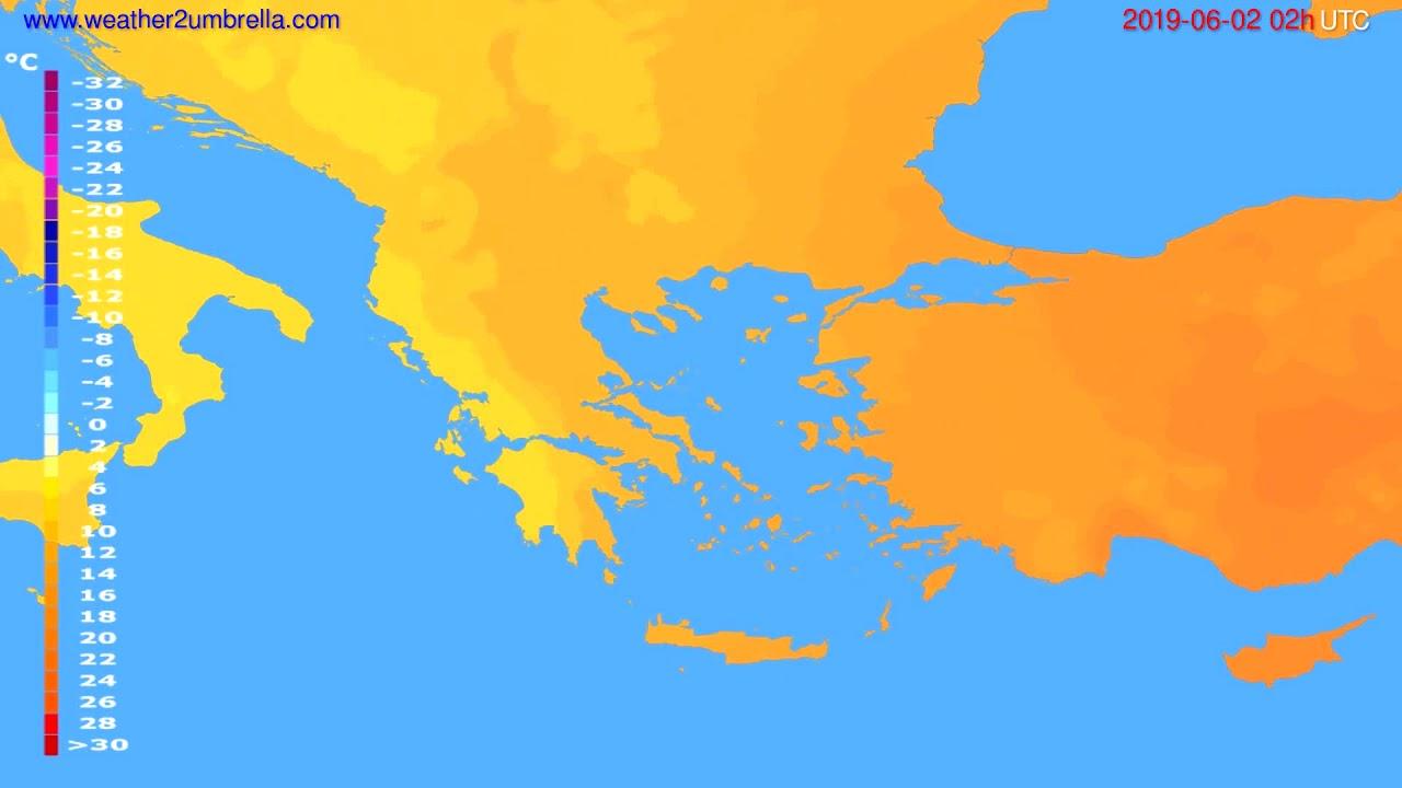 Temperature forecast Greece // modelrun: 12h UTC 2019-05-30