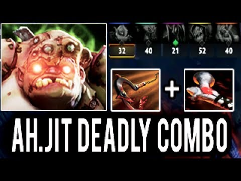 Pro Pudge Impossible Hook and Rod of Atos Trick by Ah.Jit Epic MMR Gameplay Patch 7.06 Dota 2