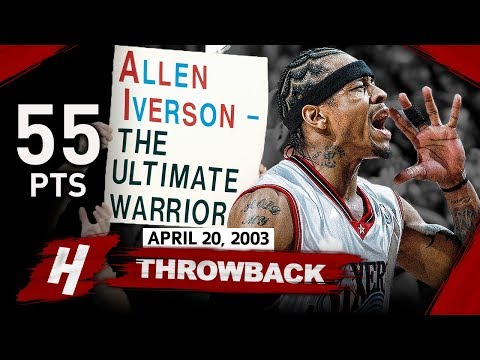 Allen Iverson EPIC FULL GAME 1 Highlights Vs Hornets (2003 Playoffs) - 55 Pts, Playoff Career-HIGH!