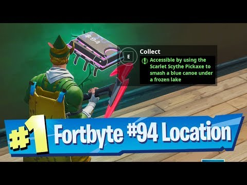 Fortnite Fortbyte #94 Location Accessible Using Scarlet Scythe To Smash Blue Canoe Under Frozen Lake