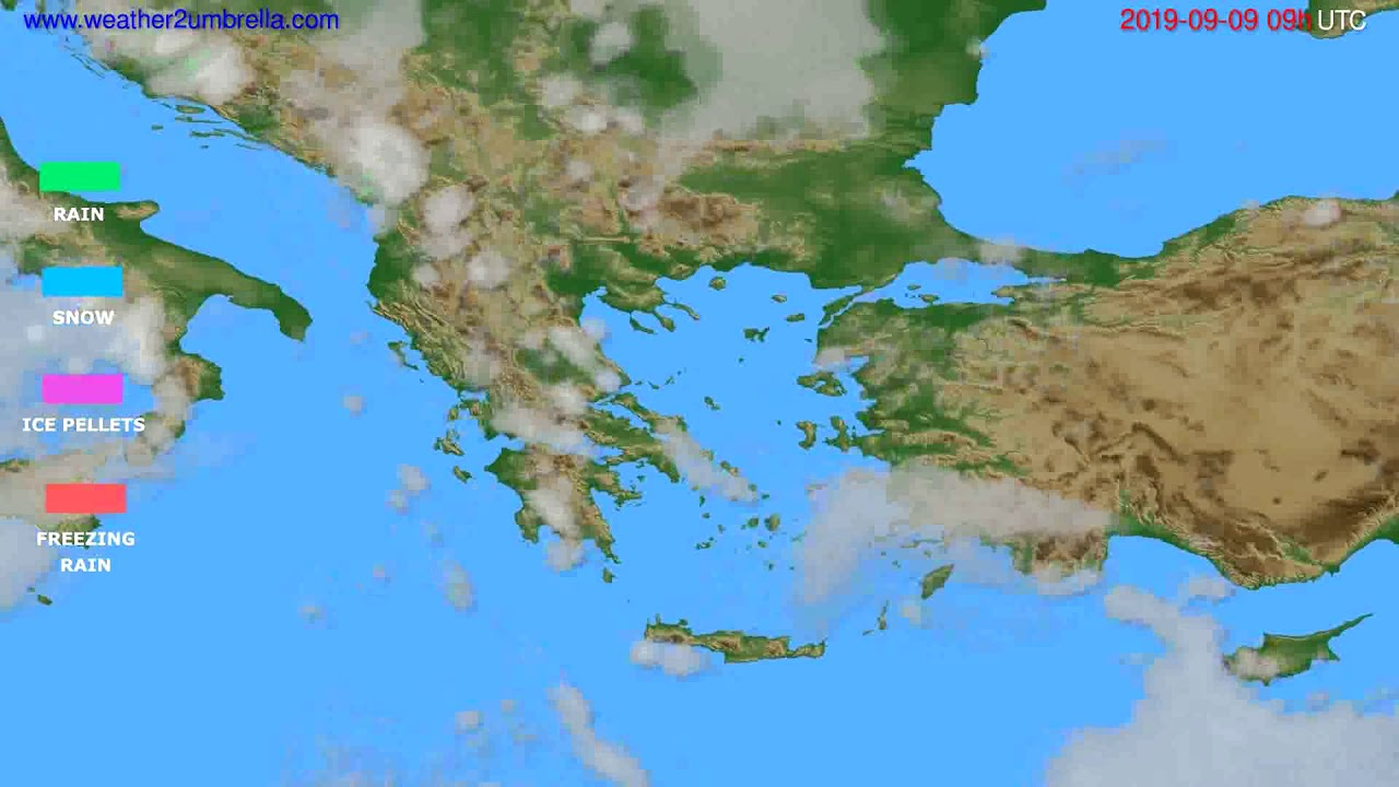 Precipitation forecast Greece // modelrun: 12h UTC 2019-09-07