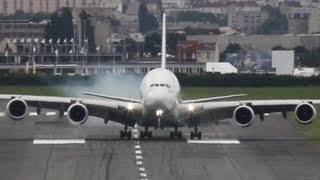 Airbus A380 visual Crosswind Landing during a windy day at Paris - Paris Air Show 2013 ( HD ) - YouTube