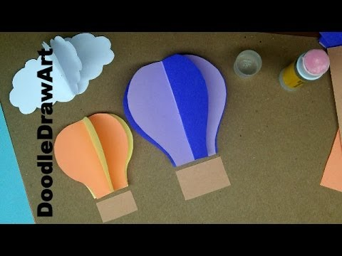 Paper Craft: How to Make Hot Air Balloon Wall Decorations – Easy Step By Step Lesson