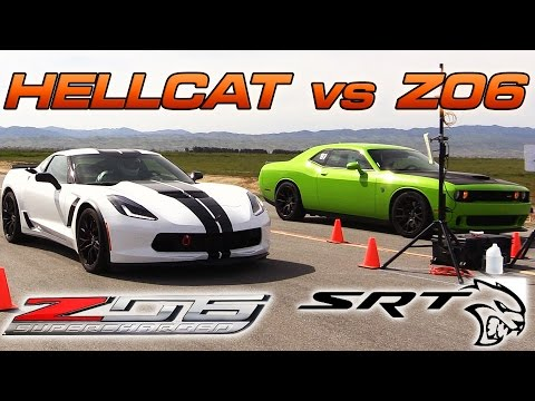 corvette z06 vs hellcat - 1/2 mile drag race
