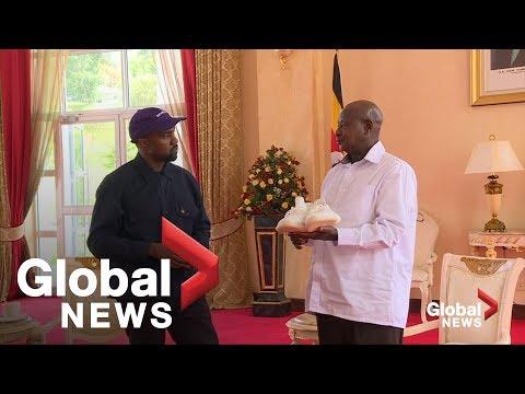 Kanye and Kim Kardashian West gift 'Yeezy' sneakers to Ugandan president