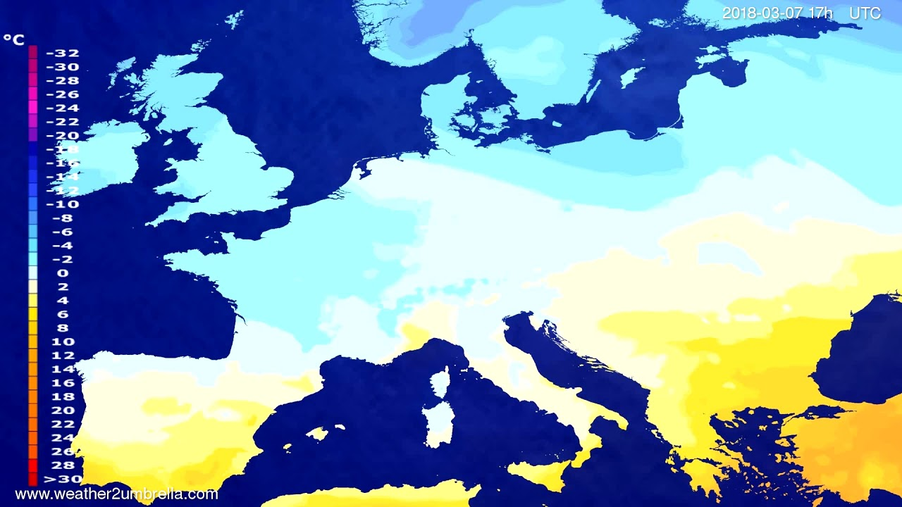 Temperature forecast Europe 2018-03-05