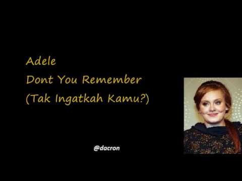 dont you remember (lirik Indonesia)