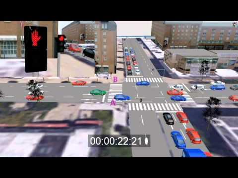 Traffic Simulation Vissim - 700 cars/h - 4 Lanes