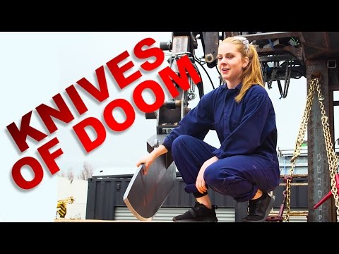 Simone Giertz Chops Vegetables With Giant 8Foot KnifeWielding