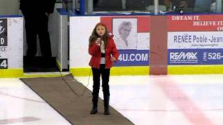 Midland (ON) Canada  city images : O CANADA Alexandra Kuniewski singing at the Midland Flyers Hockey Game 2011