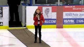 Midland (ON) Canada  city pictures gallery : O CANADA Alexandra Kuniewski singing at the Midland Flyers Hockey Game 2011