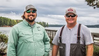 Mark Rose and Roy Hawk dish on Lake Murray after three days of practice for the Forrest Wood Cup.