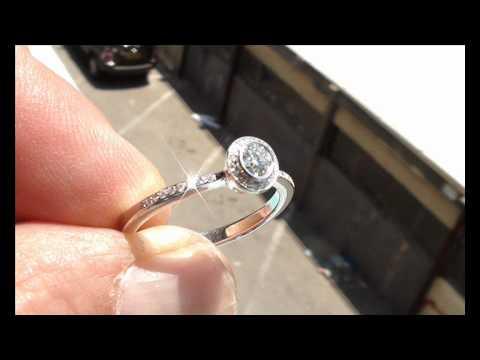 Estate engagement diamonds 14k white gold ring