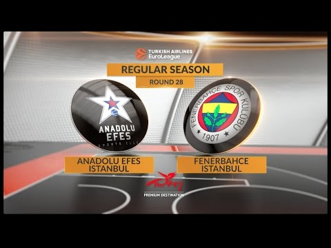 EuroLeague Highlights RS Round 28: Anadolu Efes Istanbul 80-77 Fenerbahce Istanbul