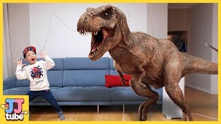 마법으로 공룡 장난감을 젤리로 뿅! 쥬라기 티라노 장난감 놀이 Jurassic Dinosaur pretend play [제이제이 튜브-JJ tube]