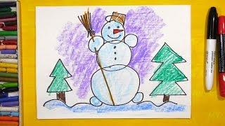 Видео: как нарисовать снеговика для детей от 3 лет