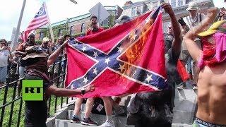 """Miles de contramanifestantes se reunieron en el parque Boston Common para mostrar su rechazo a la manifestación """"libertad de..."""