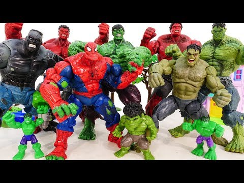 HULK SMASH Toys Collections Go ~! Red Hulk, Spider Hulk Vs Incredible Hulk Marvel Avengers Battle