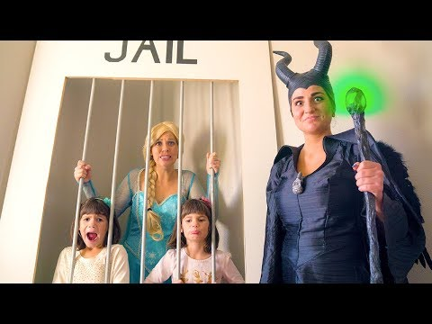 LOCKED UP!! Frozen Elsa sends Maleficent & TWINS to JAIL!!