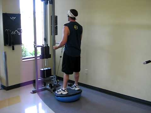 Example video of Bosu Ball Bicep Cable Curls