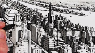 Subscribe http://www.youtube.com/circlelineartschoolHow to Draw a City in Perspective Playlist: http://bit.ly/2dix3QpCircle Line Art School: Episode 242: How to Draw City Buildings: New York City ShadowsHow to Draw City Buildings: New York City ShadowsStep 1: Draw a vertical line at the base of your pageStep 2: Draw parallel diagonal lines for the left hand side of the first buildingStep 3: Draw parallel diagonal lines to the right hand side of the first buildingStep 4: Draw more buildings behind the first building, keeping to the three types of lineStep 5: Shade in the left side of each buildingStep 6: Add lots of tiny parallel windows!Step 7: Add darker shadows on the building behind, cast from the building in front!Please visit my art resources site http://www.circlelineartschool.comLearn how to draw City Buildings in a very easy way for beginners. In this art lesson I show you a simple way to draw 3D buildings, using a pen, draw a view of New York City.For this drawing I used a black pen, a grey marker pen and paper. I hope you like this art video and you have a go too.Please subscribe to my YouTube Channel, http://www.youtube.com/circlelineartschool for a new art video every week.Tom McPhersonCircle Line Art SchoolHow to Draw a City: Draw BuildingsHow to Draw Perspective: New York City ShadowsMusic used in this How to Draw a City: New YorK Shadows:Book Bag by  E's Jammy JamsLearn a quick way to draw a City in this pen drawingCircle Line Art School